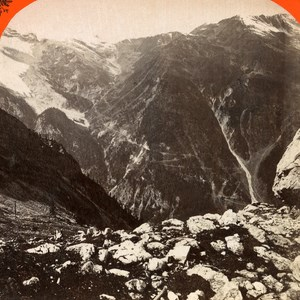 Italy Stelvio Street from the Payer Hut old Stereo Photo Unterberger 1890