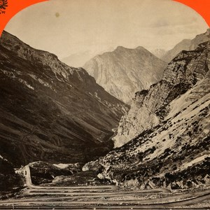 Italy Stilserjoch Strasse to Bormio old Stereo Photo Unterberger 1890