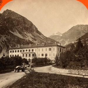 Italy Bormio Hotel Spa old Stereo Photo Unterberger 1890