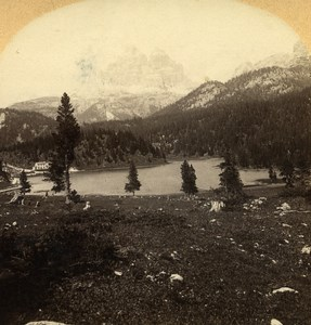 Austro-Hungarian Empire Ampezzo Lake Misurina old Stereo Photo Gratl 1890