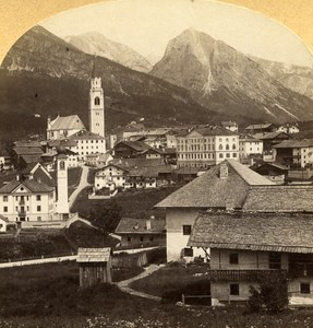 Austro-Hungarian Empire Cortina Ampezzo Italy old Stereo Photo Gratl 1890
