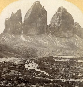 Italy Ampezzo Three Pikes old Stereo Photo Gratl 1890