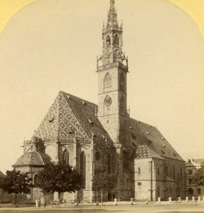 Italy Bolzano Church old Stereo Photo Gratl 1890