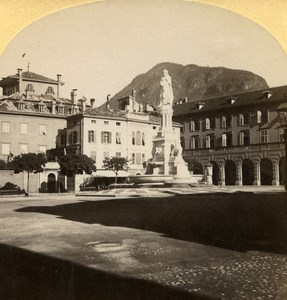 Italy Bolzano Johannes Place old Stereo Photo Gratl 1890