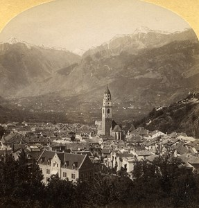 Austro-Hungarian Empire Tirol Meran Merano old Stereo Photo Gratl 1890