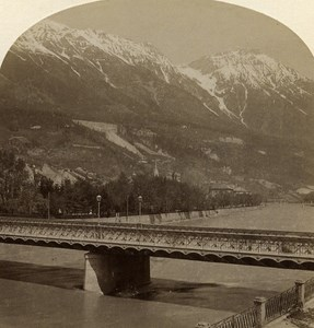 Austro-Hungarian Empire Tirol Innsbruck Bridge old Stereo Photo Gratl 1890
