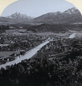 Austro-Hungarian Empire Tirol Innsbruck Panorama old Stereo Photo Gratl 1890