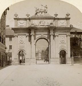 Austro-Hungarian Empire Tirol Innsbruck Triumph Door Stereo Photo Gratl 1890
