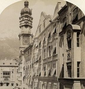 Austria Tirol Innsbruck Herzog Friedrichstrasse old Stereo Photo Gratl 1890