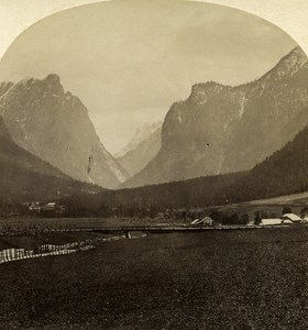 Austro-Hungarian Empire Tirol Ampezzo Thal old Stereo Photo Gratl 1890