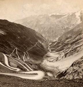 Italy Stelvio Pass Panorama old Stereo Photo Wurthle & Sohn 1890