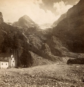 Italy Stelvio Trafoi Chapel old Stereo Photo Wurthle 1890