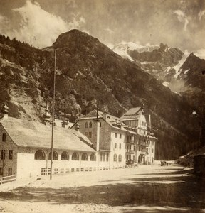 Italy Stelvio Trafoi Hotel old Stereo Photo Wurthle 1890