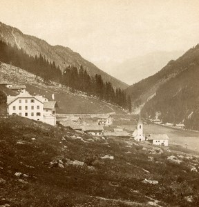 Italy Stelvio Trafoi Panorama old Stereo Photo Wurthle 1890