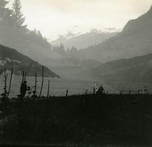 Switzerland Lake Thun Double Exposure old Possemiers Stereo Photo 1920