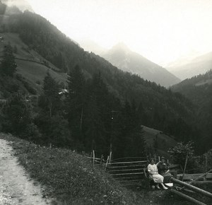 Switzerland Lake Thun Kienthal Road old Possemiers Stereo Photo 1920
