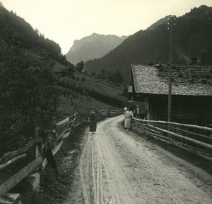 Switzerland Lake Thun Kienthal old Possemiers Stereo Photo 1920
