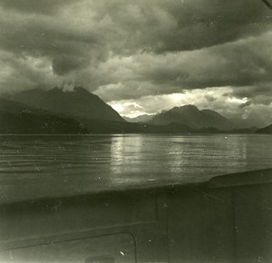 Switzerland Lake Thun Cloud Effect old Possemiers Stereo Photo 1920
