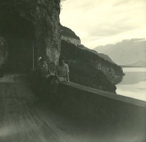 Switzerland Lake Thun old Possemiers Stereo Photo 1920