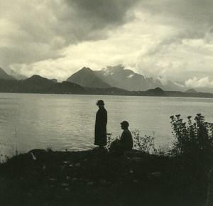 Switzerland Lake Thun Merligen old Possemiers Stereo Photo 1920