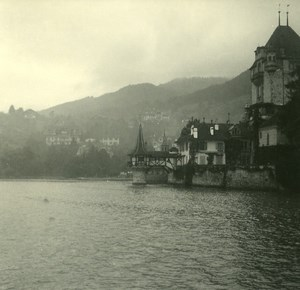 Switzerland Lake Thun Castle Oberhofen old Possemiers Stereo Photo 1920