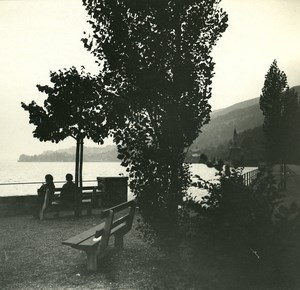 Switzerland Lake Thun Oberhofen old Possemiers Stereo Photo 1920