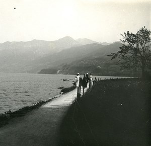 Switzerland Lake Thun Spiez old Possemiers Stereo Photo 1920