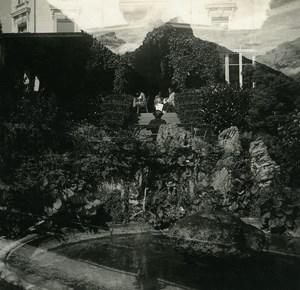 Switzerland Lake Thun Spiez Double Exposure old Possemiers Stereo Photo 1920