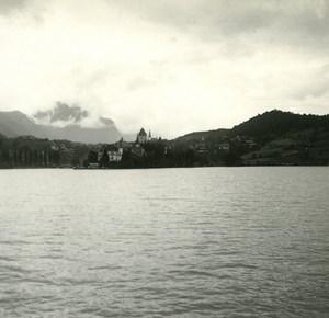 Switzerland Lake Thun old Possemiers Stereo Photo 1920