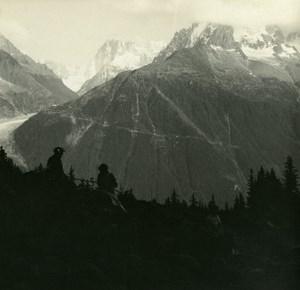 France Haute Savoie Chamonix Mont Blanc old Possemiers Stereo Photo 1920