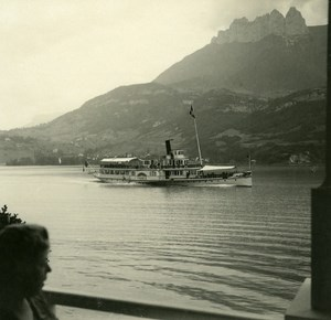 France Haute Savoie Lake Annecy Duingt Boat old Possemiers Stereo Photo 1920