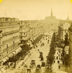 France Paris Boulevard Saint Michel old Stereo Photo Block 1865
