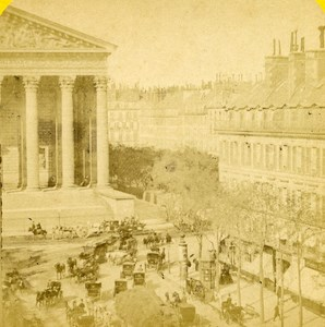France Paris Place de la Madeleine old Stereo Photo Block 1865
