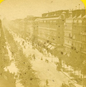 France Paris Boulevard Haussman old Stereo Photo Block 1865