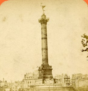 France Paris Ruins Place of La Bastille old Stereo Photo Block 1870