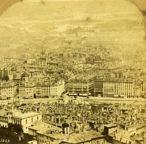 France Lyon Panorama Pont La Feuillée old Stereo Photo 1860