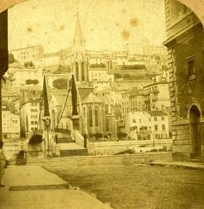 France Lyon Footbridge Saint Georges old Stereo Photo 1860