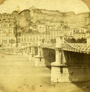 France Lyon Bridge Louis Philippe old Stereo Photo 1860