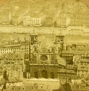 France Lyon Panorama off the Cathedral old Stereo Photo 1860