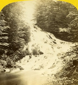 France Gerardmer Falls of Retournemer old Stereo Photo Ad. Braun 1865