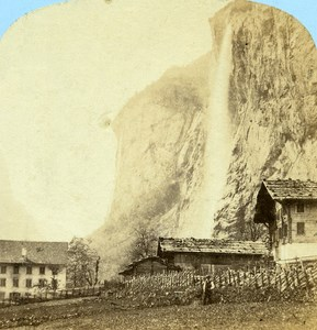 Switzerland Oberland Staubach at Lauterbrunnen old Stereo Photo Ad. Braun 1865