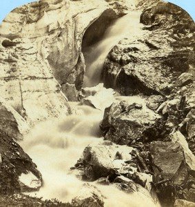 Switzerland Bernina Spring at Morteratsch Glacier old Stereo Photo Braun 1865