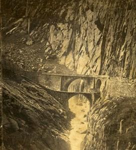 Switzerland Canto Uri Devil Bridge old Stereo Photo Ad. Braun 1865