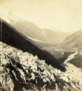 Switzerland Chamonix Valley Mount White old Stereo Photo Ad. Braun 1865