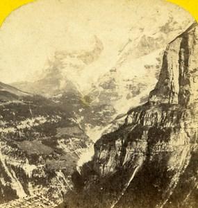Switzerland Oberland Mount Eiger taken from Murren Stereo Photo Ad. Braun 1865