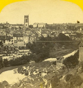 Switzerland Panorama Fribourg old Stereo Photo Ad. Braun 1865