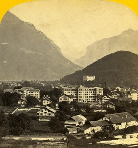 Switzerland Panorama Interlaken old Stereo Photo Ad. Braun 1865