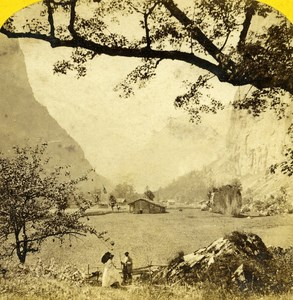 Switzerland Panorama Lauterbrunnen Valley old Stereo Photo William England 1865