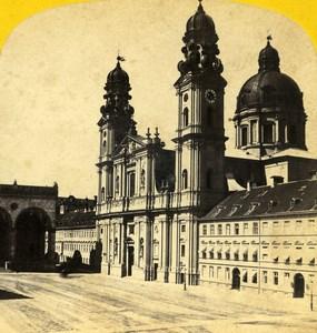 Germany Munchen Theatine Church Theatinerkirche old Stereo Photo Ad. Braun 1865