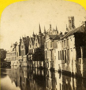 Belgium Bruges Palace of Franc old Stereo Photo Ad. Braun 1865
